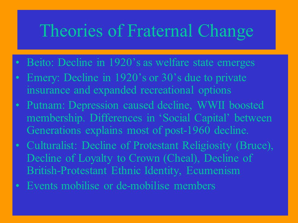 Theories of Fraternal Change Beito: Decline in 1920's as welfare state emerges Emery: Decline in 1920's or 30's due to private insurance and expanded recreational options Putnam: Depression caused decline, WWII boosted membership.