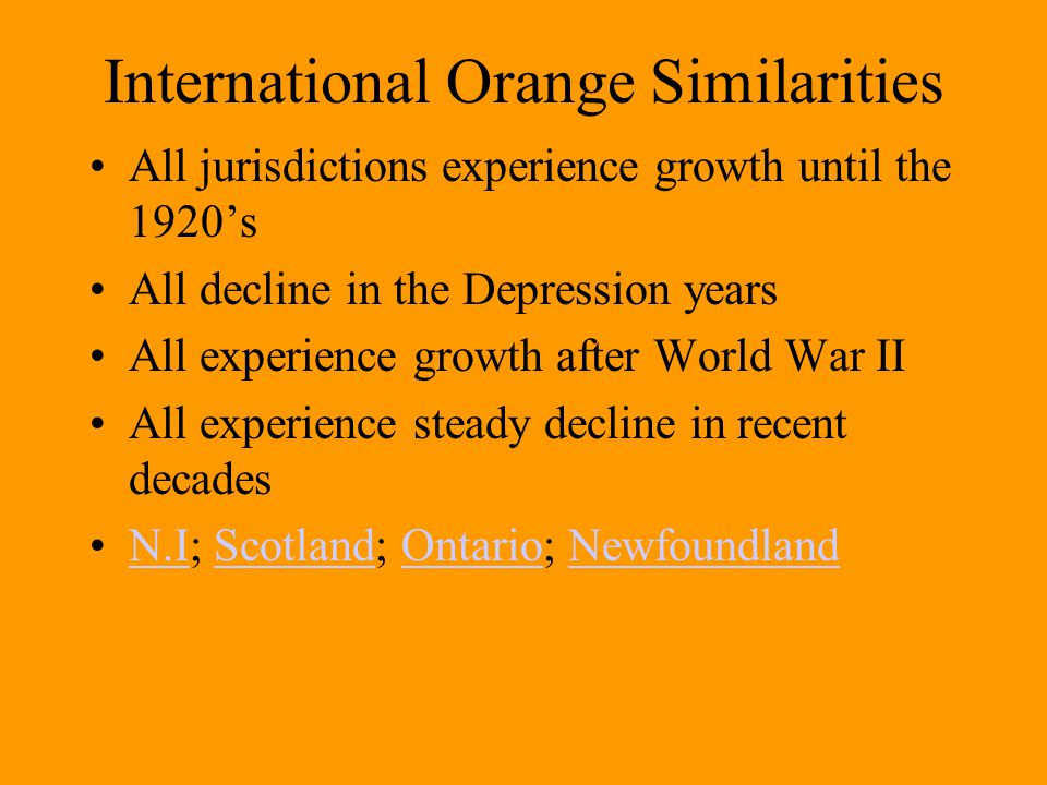 International Orange Similarities All jurisdictions experience growth until the 1920's All decline in the Depression years All experience growth after World War II All experience steady decline in recent decades N.I; Scotland; Ontario; NewfoundlandN.IScotlandOntarioNewfoundland
