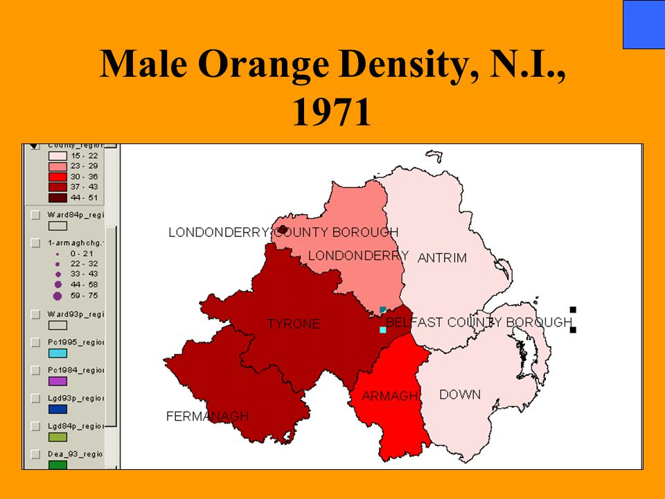 Male Orange Density, N.I., 1971