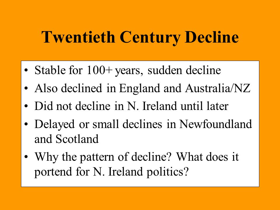 Twentieth Century Decline Stable for 100+ years, sudden decline Also declined in England and Australia/NZ Did not decline in N.