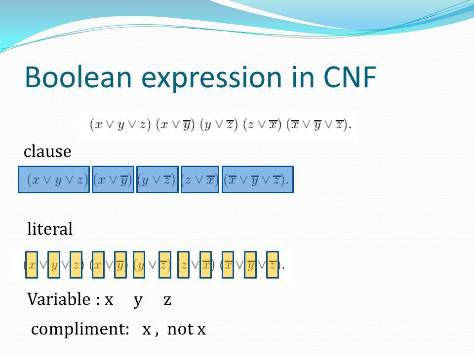 Boolean expression in CNF clause literal Variable : x y z compliment: x, not x