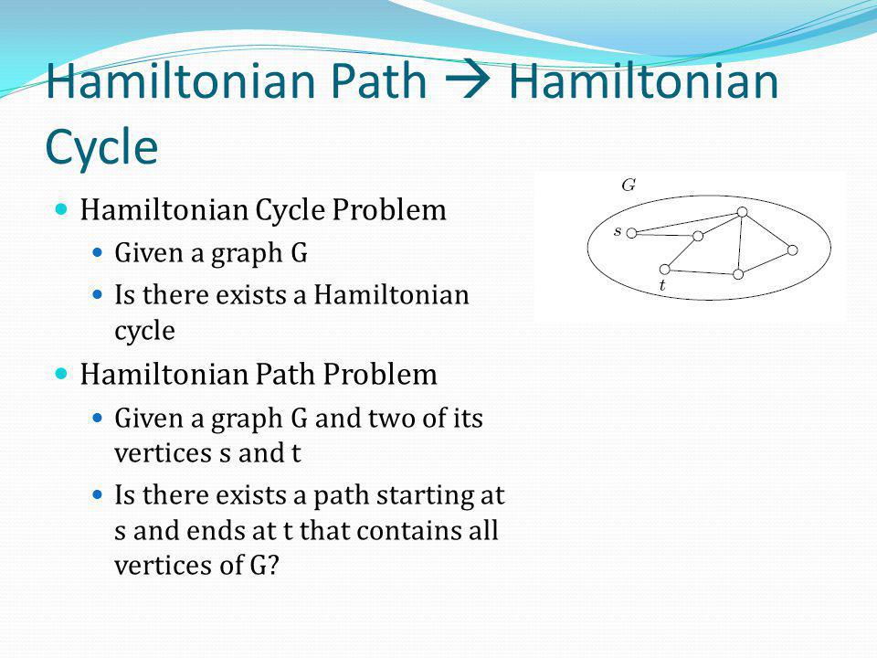 Hamiltonian Path  Hamiltonian Cycle Hamiltonian Cycle Problem Given a graph G Is there exists a Hamiltonian cycle Hamiltonian Path Problem Given a gr