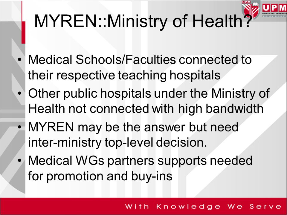 MYREN::Ministry of Health? Medical Schools/Faculties connected to their respective teaching hospitals Other public hospitals under the Ministry of Hea