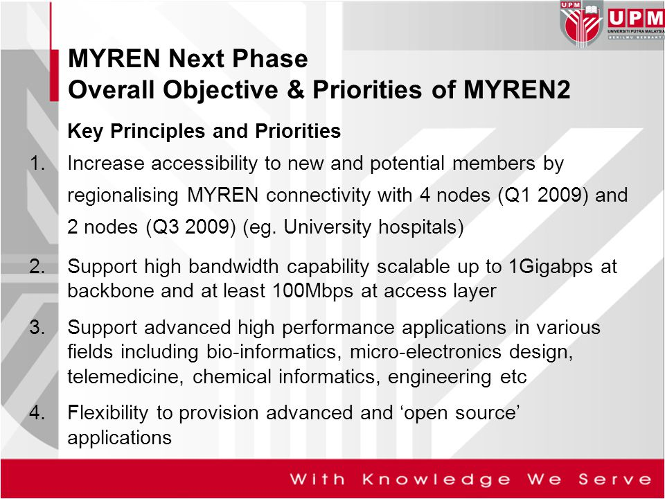 Key Principles and Priorities 1.Increase accessibility to new and potential members by regionalising MYREN connectivity with 4 nodes (Q1 2009) and 2 n