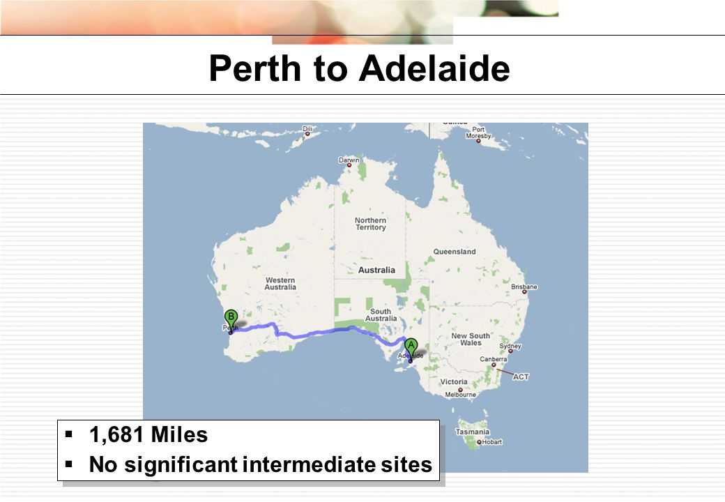 Perth to Adelaide  1,681 Miles  No significant intermediate sites  1,681 Miles  No significant intermediate sites
