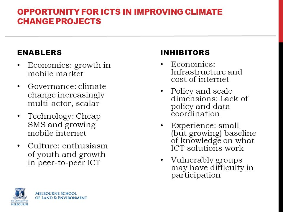 OPPORTUNITY FOR ICTS IN IMPROVING CLIMATE CHANGE PROJECTS ENABLERS Economics: growth in mobile market Governance: climate change increasingly multi-actor, scalar Technology: Cheap SMS and growing mobile internet Culture: enthusiasm of youth and growth in peer-to-peer ICT INHIBITORS Economics: Infrastructure and cost of internet Policy and scale dimensions: Lack of policy and data coordination Experience: small (but growing) baseline of knowledge on what ICT solutions work Vulnerably groups may have difficulty in participation