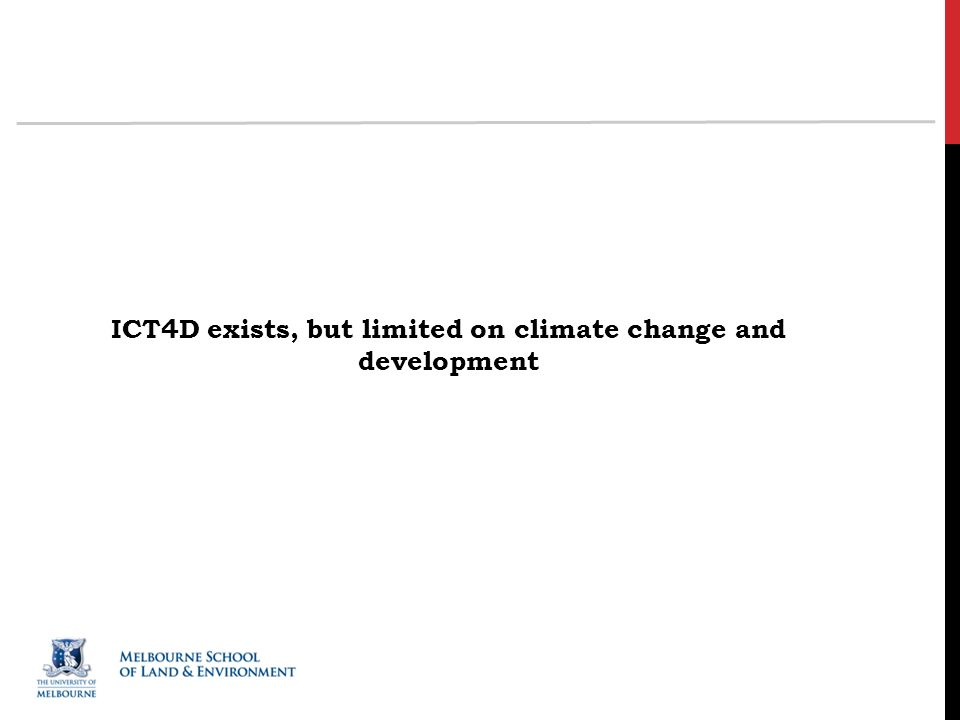 ICT4D exists, but limited on climate change and development