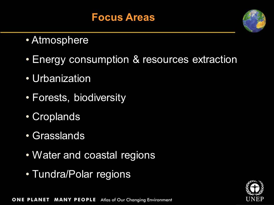 Focus Areas Atmosphere Energy consumption & resources extraction Urbanization Forests, biodiversity Croplands Grasslands Water and coastal regions Tun