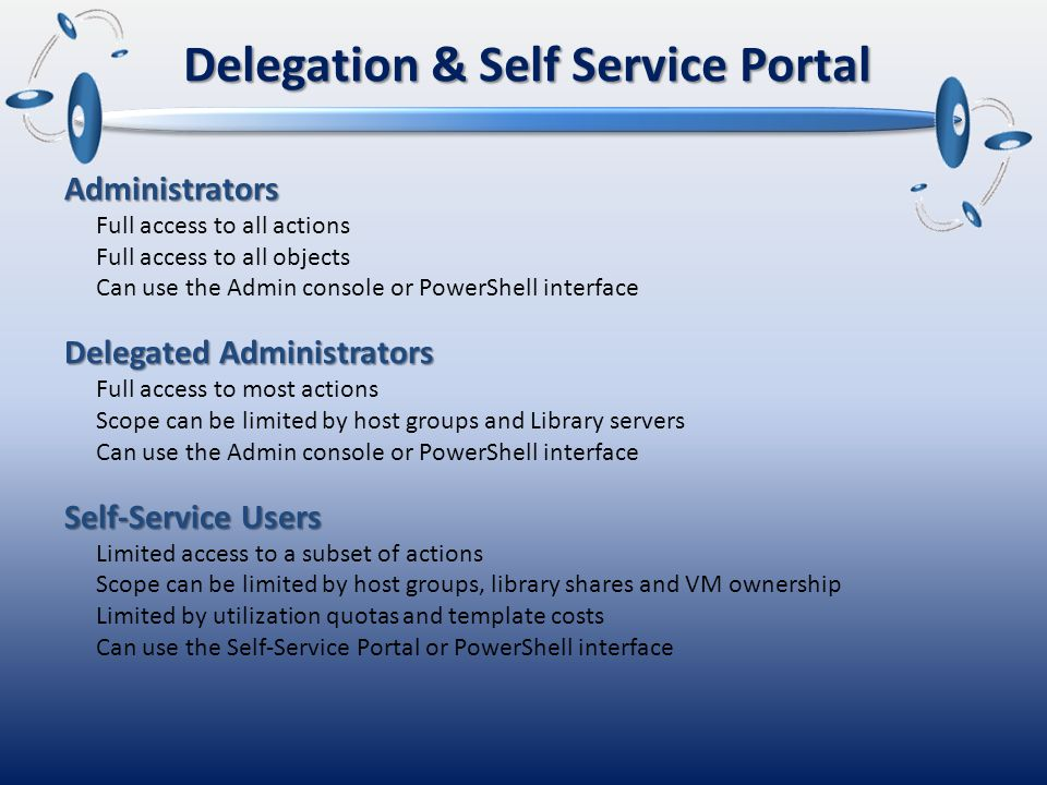 Delegation & Self Service Portal Administrators Full access to all actions Full access to all objects Can use the Admin console or PowerShell interface Delegated Administrators Full access to most actions Scope can be limited by host groups and Library servers Can use the Admin console or PowerShell interface Self-Service Users Limited access to a subset of actions Scope can be limited by host groups, library shares and VM ownership Limited by utilization quotas and template costs Can use the Self-Service Portal or PowerShell interface