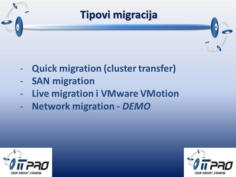 Tipovi migracija -Quick migration (cluster transfer) -SAN migration -Live migration i VMware VMotion -Network migration - DEMO