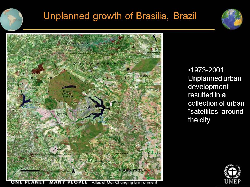 Unplanned growth of Brasilia, Brazil 1973-2001: Unplanned urban development resulted in a collection of urban satellites around the city