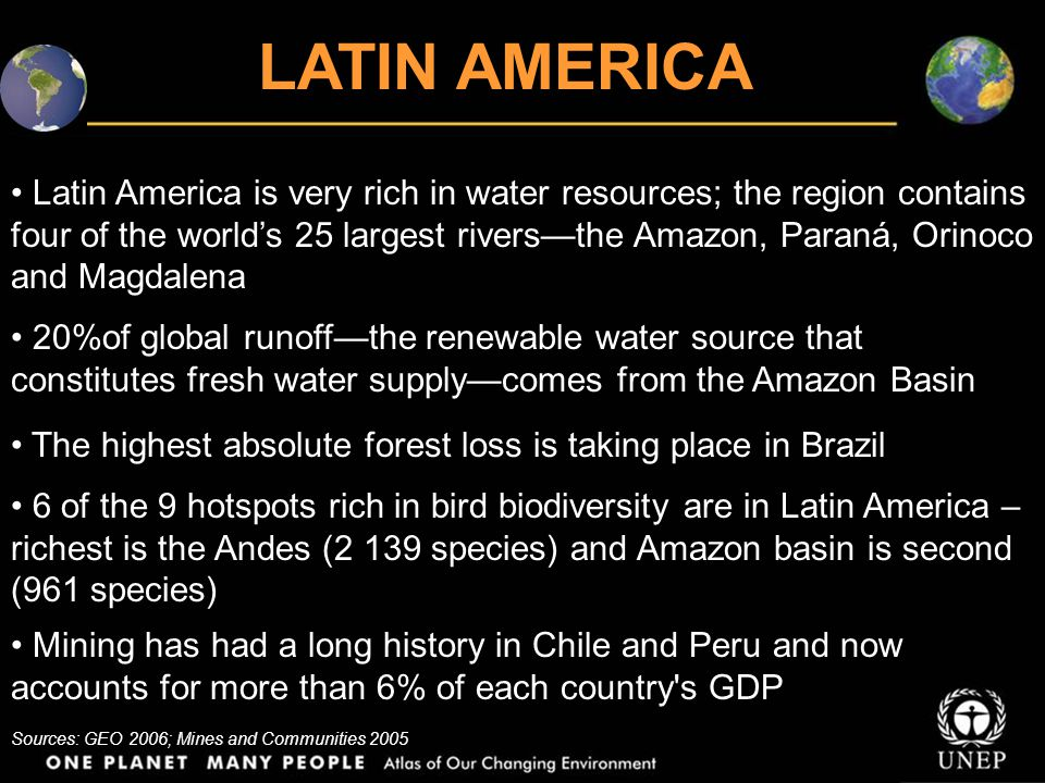 Latin America is very rich in water resources; the region contains four of the world's 25 largest rivers—the Amazon, Paraná, Orinoco and Magdalena 20%of global runoff—the renewable water source that constitutes fresh water supply—comes from the Amazon Basin The highest absolute forest loss is taking place in Brazil LATIN AMERICA 6 of the 9 hotspots rich in bird biodiversity are in Latin America – richest is the Andes (2 139 species) and Amazon basin is second (961 species) Mining has had a long history in Chile and Peru and now accounts for more than 6% of each country s GDP Sources: GEO 2006; Mines and Communities 2005