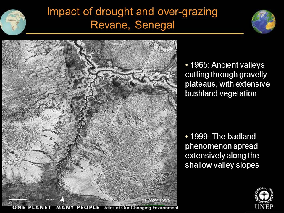 Impact of drought and over-grazing Revane, Senegal 1965: Ancient valleys cutting through gravelly plateaus, with extensive bushland vegetation 1999: The badland phenomenon spread extensively along the shallow valley slopes