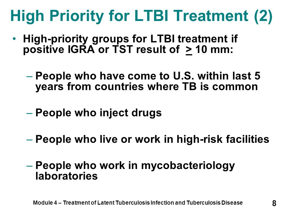 Module 4 – Treatment of Latent Tuberculosis Infection and Tuberculosis Disease 99 Patients should have baseline blood and vision tests to detect problems that may complicate treatment Children only need vision tests, unless there are other medical conditions that may complicate treatment Monitoring Adverse Reactions (1)