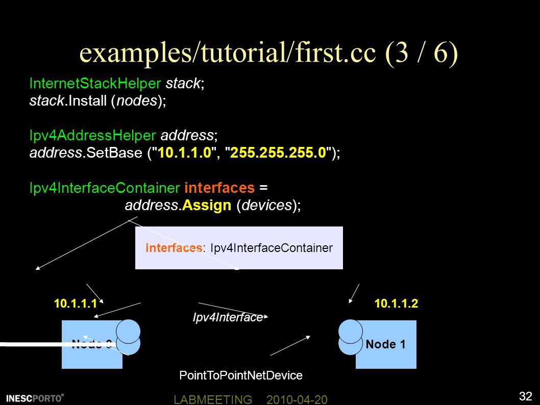 32 LABMEETING 2010-04-20 examples/tutorial/first.cc (3 / 6) InternetStackHelper stack; stack.Install (nodes); Ipv4AddressHelper address; address.SetBase ( 10.1.1.0 , 255.255.255.0 ); Ipv4InterfaceContainer interfaces = address.Assign (devices); Node 0Node 1 interfaces: Ipv4InterfaceContainer PointToPointNetDevice Ipv4Interface 10.1.1.110.1.1.2