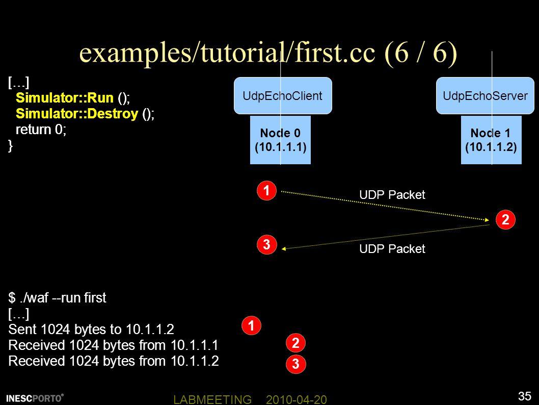 35 LABMEETING 2010-04-20 examples/tutorial/first.cc (6 / 6) […] Simulator::Run (); Simulator::Destroy (); return 0; } Node 0 (10.1.1.1) Node 1 (10.1.1.2) UdpEchoServerUdpEchoClient $./waf --run first […] Sent 1024 bytes to 10.1.1.2 Received 1024 bytes from 10.1.1.1 Received 1024 bytes from 10.1.1.2 […] Simulator::Run (); Simulator::Destroy (); return 0; } UDP Packet 1 2 3 1 2 3