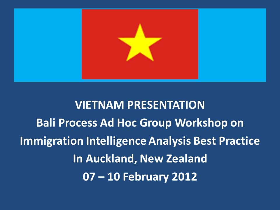T VIETNAM PRESENTATION Bali Process Ad Hoc Group Workshop on Immigration Intelligence Analysis Best Practice In Auckland, New Zealand 07 – 10 February