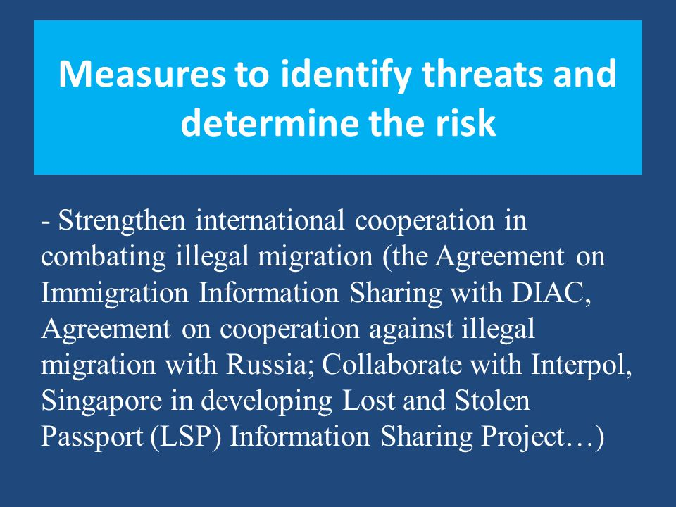 Measures to identify threats and determine the risk -Strengthen international cooperation in combating illegal migration (the Agreement on Immigration