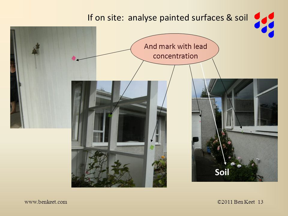If on site: analyse painted surfaces & soil www.benkeet.com©2011 Ben Keet 13 And mark with lead concentration Soil