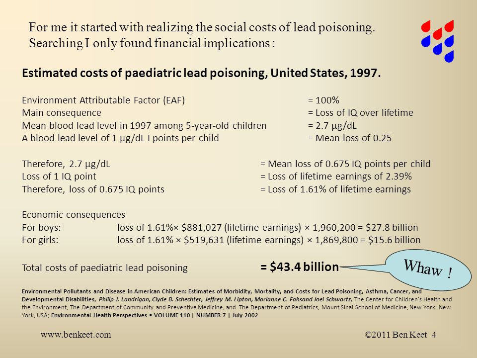 www.benkeet.com©2014 Ben Keet 5 Environmental attributable cost by condition Base-case (US $ Billion) Lead poisoning50.9 Methyl Mercury tox5.1 Asthma2.2 Intellectual Disability5.4 Autism7.9 ADHD5 Ref.