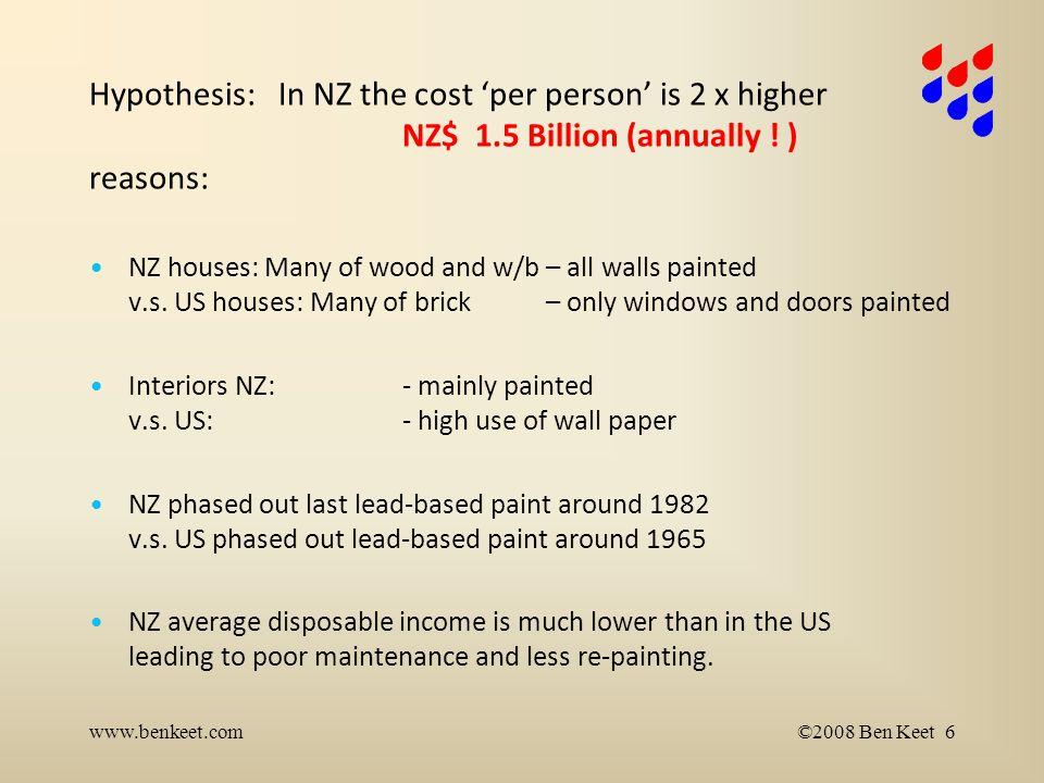 Lead-based paint history www.benkeet.com©2011 Ben Keet 7 Pre-1945 - 70 paint > 50% Pb Start phase out world-wide in late '60-ies Still in use in NZ in mid '80-ies