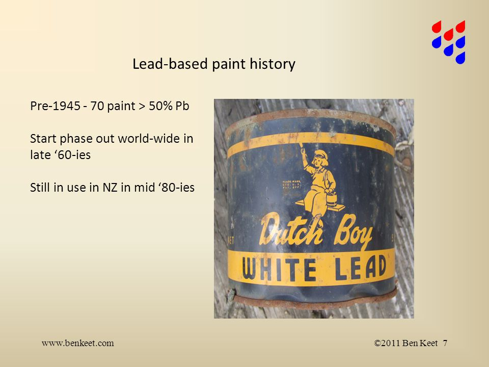 Lead-based paint history www.benkeet.com©2011 Ben Keet 7 Pre-1945 - 70 paint > 50% Pb Start phase out world-wide in late '60-ies Still in use in NZ in mid '80-ies