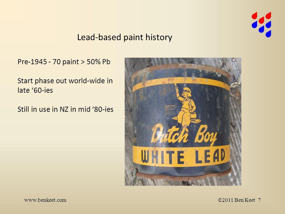 1980 - 1.000.000 households in NZ 1984 BRANZ estimates: 251.000 properties with lead based paint www.benkeet.com©2011 Ben Keet 8 Ref.