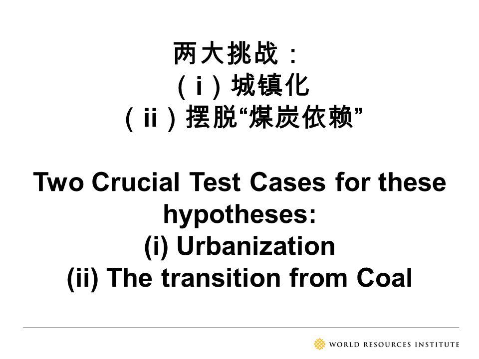 """两大挑战: ( i )城镇化 ( ii )摆脱 """" 煤炭依赖 """" Two Crucial Test Cases for these hypotheses: (i) Urbanization (ii) The transition from Coal"""