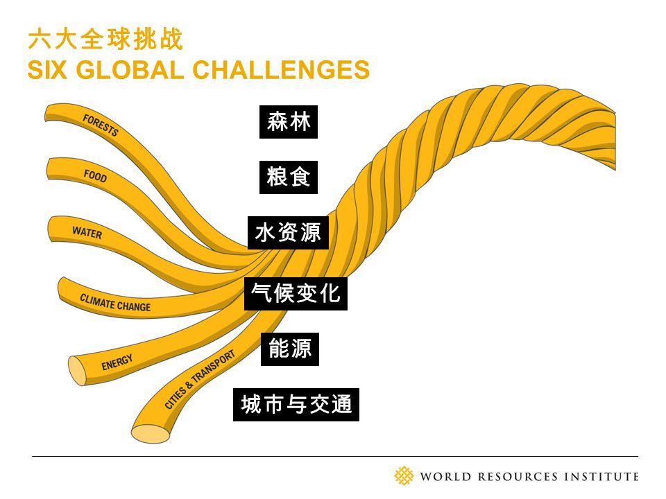 六大全球挑战 SIX GLOBAL CHALLENGES 森林 粮食 水资源 气候变化 城市与交通 能源