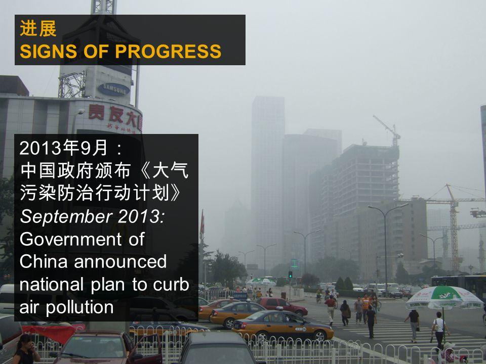 进展 SIGNS OF PROGRESS 2013 年 9 月: 中国政府颁布《大气 污染防治行动计划》 September 2013: Government of China announced national plan to curb air pollution