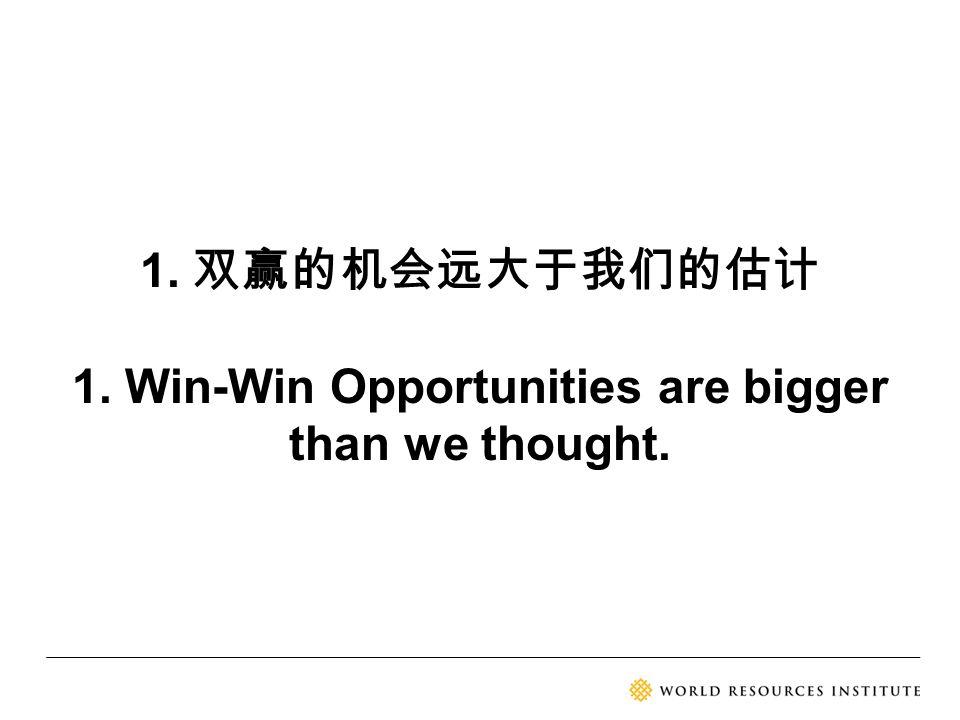 1. 双赢的机会远大于我们的估计 1. Win-Win Opportunities are bigger than we thought.