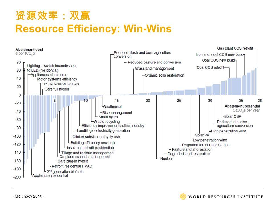 (McKinsey 2010) 资源效率:双赢 Resource Efficiency: Win-Wins
