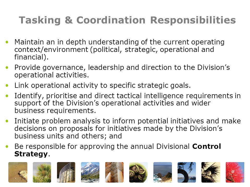 Tasking & Coordination Responsibilities Maintain an in depth understanding of the current operating context/environment (political, strategic, operational and financial).