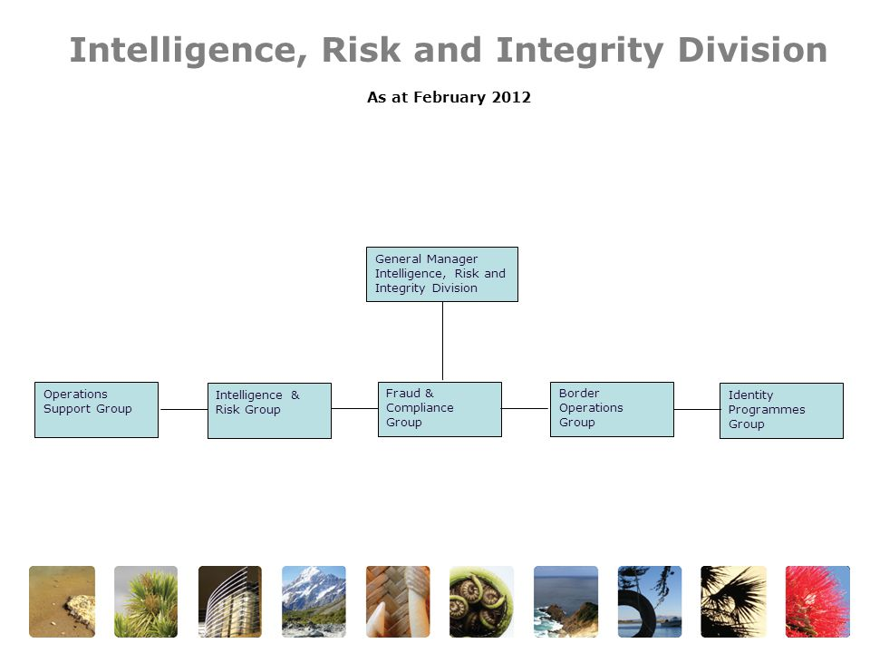 Intelligence, Risk and Integrity Division As at February 2012 General Manager Intelligence, Risk and Integrity Division Operations Support Group Intelligence & Risk Group Border Operations Group Identity Programmes Group Fraud & Compliance Group