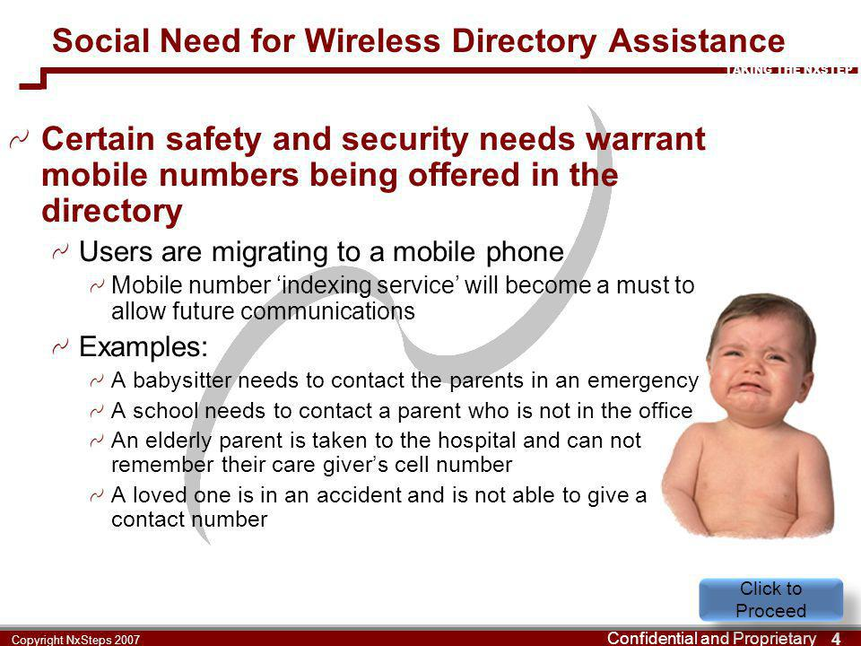 TAKING THE NXSTEP Confidential and Proprietary 4 Copyright NxSteps 2007 Social Need for Wireless Directory Assistance Certain safety and security need