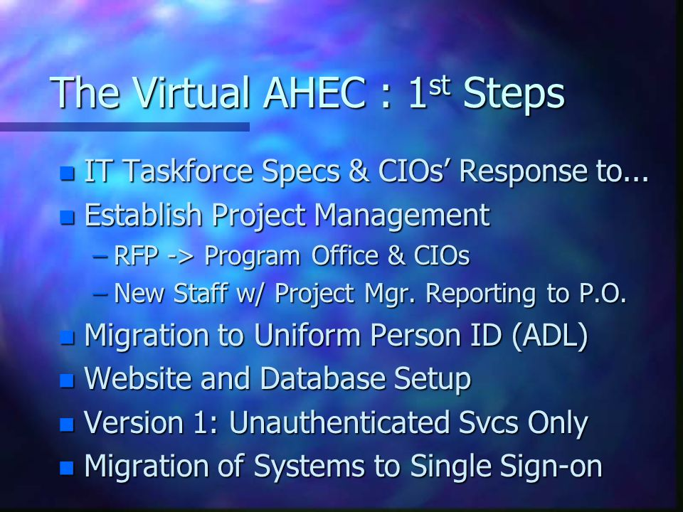 The Virtual AHEC : 1 st Steps n IT Taskforce Specs & CIOs' Response to...