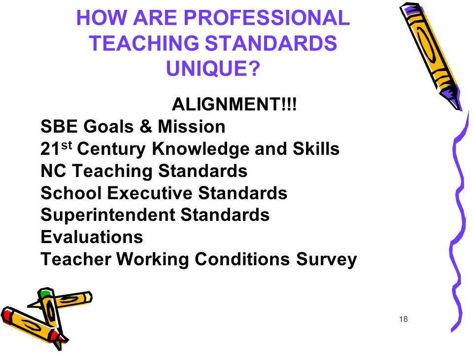 HOW ARE PROFESSIONAL TEACHING STANDARDS UNIQUE. ALIGNMENT!!.