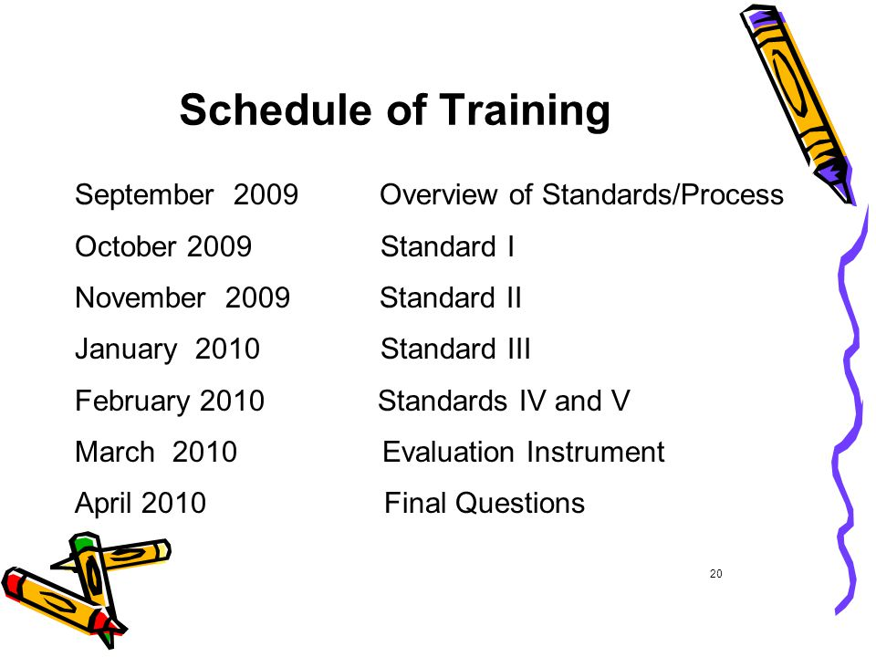 Schedule of Training September 2009 Overview of Standards/Process October 2009 Standard I November 2009 Standard II January 2010 Standard III February