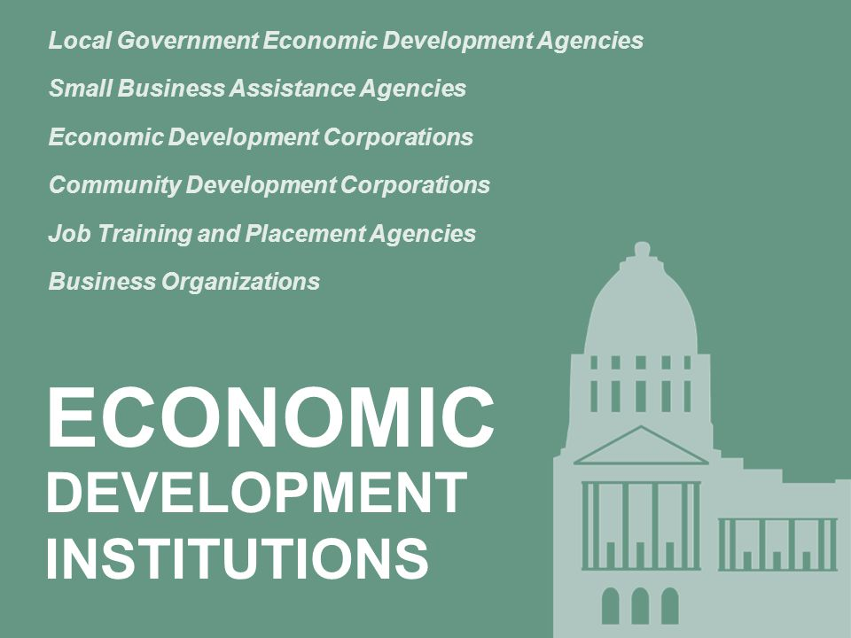 ECONOMIC DEVELOPMENT INSTITUTIONS Local Government Economic Development Agencies Small Business Assistance Agencies Economic Development Corporations Community Development Corporations Job Training and Placement Agencies Business Organizations