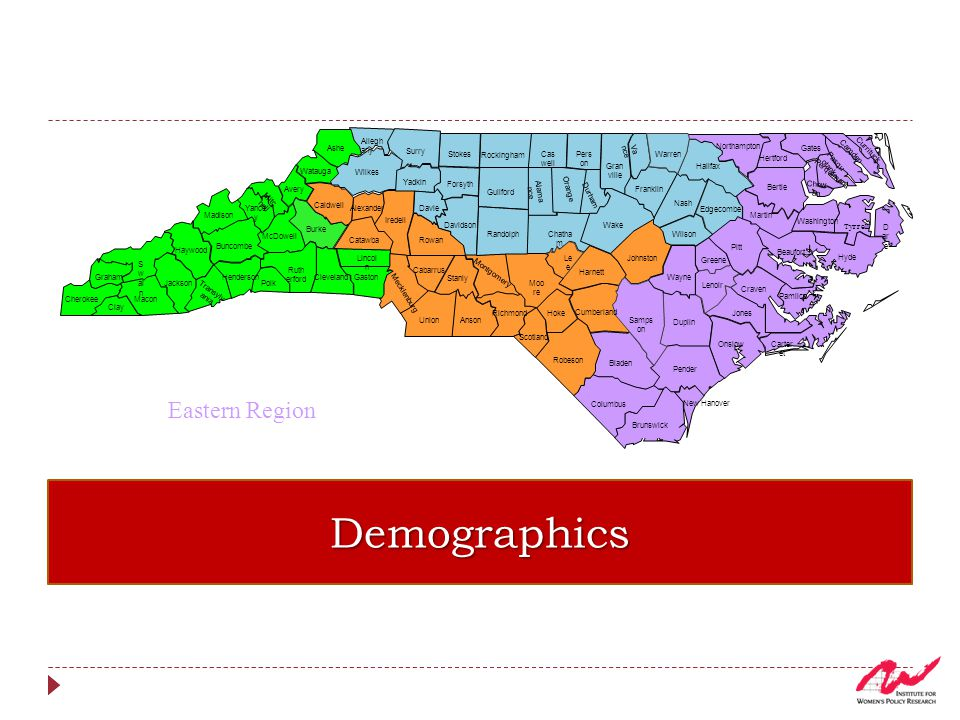 Distribution of Women and Girls by Race and Ethnicity in Eastern NC, 2009-2011 1 in 3 women and girls are a racial or ethnic minority Median age for women—43 years 19% are 65 years old and older compared to 15 in the state
