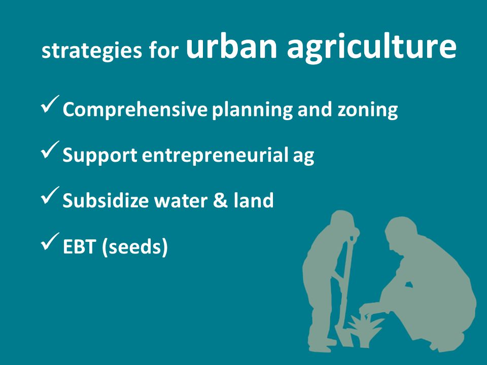 strategies for urban agriculture Comprehensive planning and zoning Support entrepreneurial ag Subsidize water & land EBT (seeds)