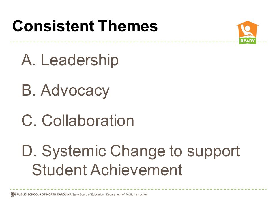 Consistent Themes A.Leadership B. Advocacy C. Collaboration D.