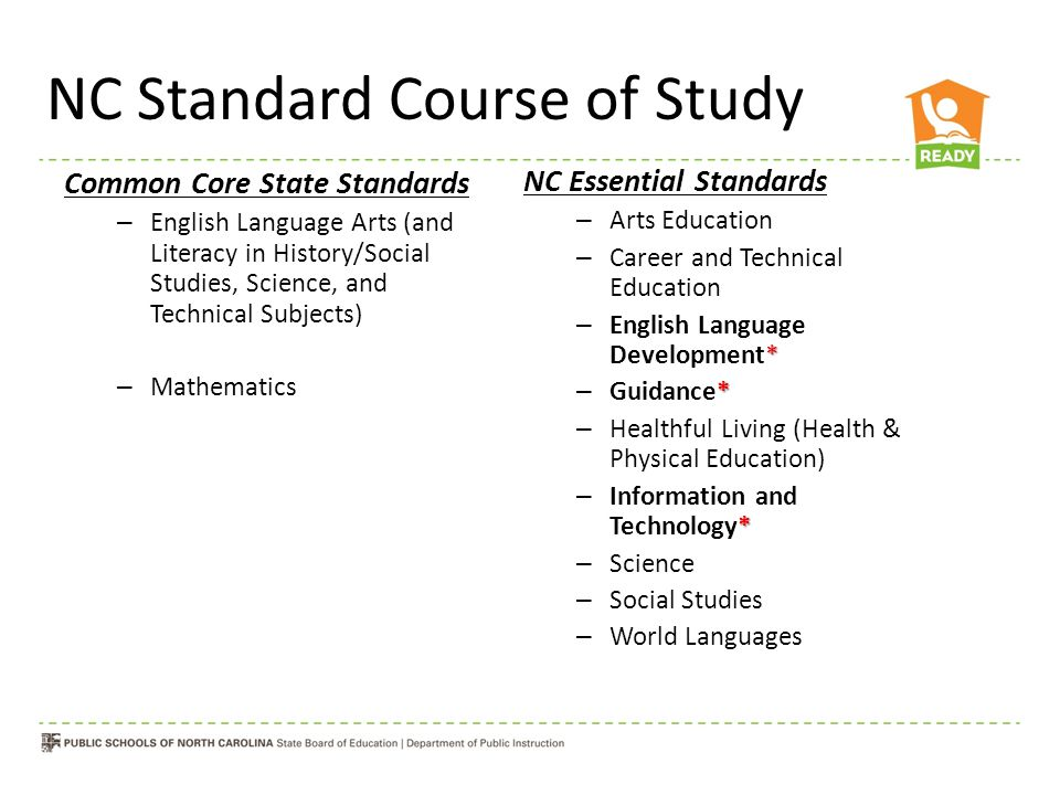NC Standard Course of Study Common Core State Standards – English Language Arts (and Literacy in History/Social Studies, Science, and Technical Subjects) – Mathematics NC Essential Standards – Arts Education – Career and Technical Education * – English Language Development* * – Guidance* – Healthful Living (Health & Physical Education) * – Information and Technology* – Science – Social Studies – World Languages