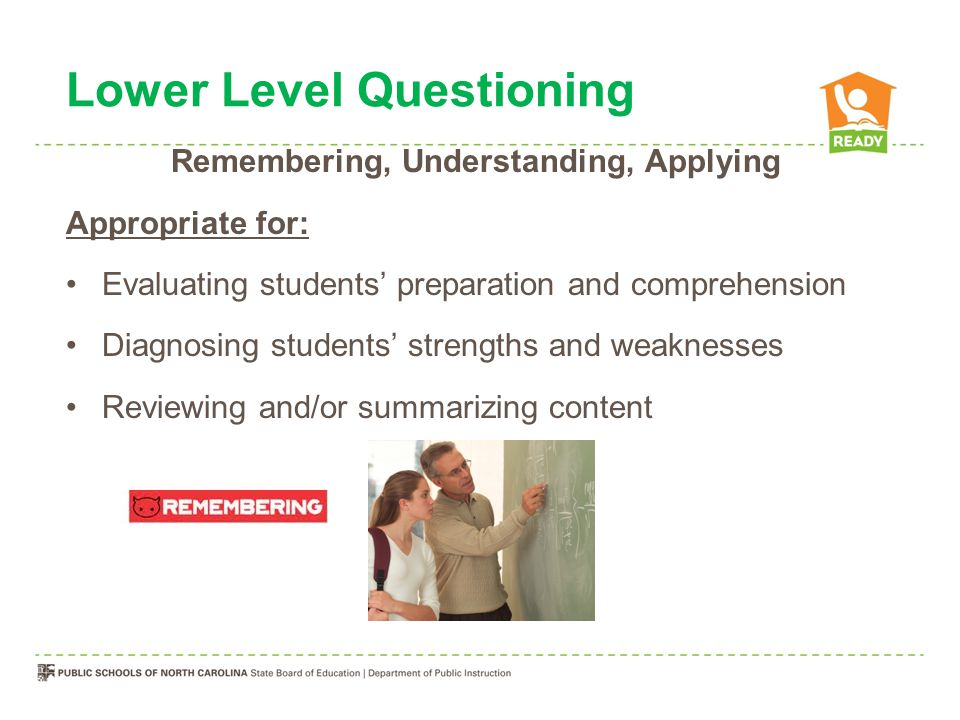 Lower Level Questioning Remembering, Understanding, Applying Appropriate for: Evaluating students' preparation and comprehension Diagnosing students' strengths and weaknesses Reviewing and/or summarizing content
