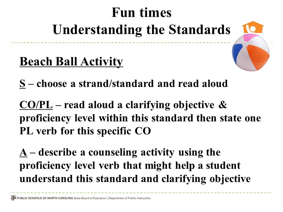 Fun times Understanding the Standards Beach Ball Activity S – choose a strand/standard and read aloud CO/PL – read aloud a clarifying objective & proficiency level within this standard then state one PL verb for this specific CO A – describe a counseling activity using the proficiency level verb that might help a student understand this standard and clarifying objective