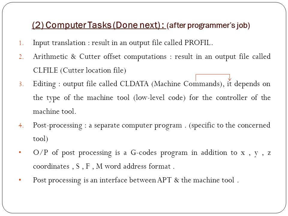 (2) Computer Tasks (Done next) : (after programmer's job) 1. Input translation : result in an output file called PROFIL. 2. Arithmetic & Cutter offset