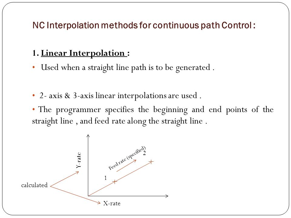 NC Interpolation methods for continuous path Control : 1. Linear Interpolation : Used when a straight line path is to be generated. 2- axis & 3-axis l