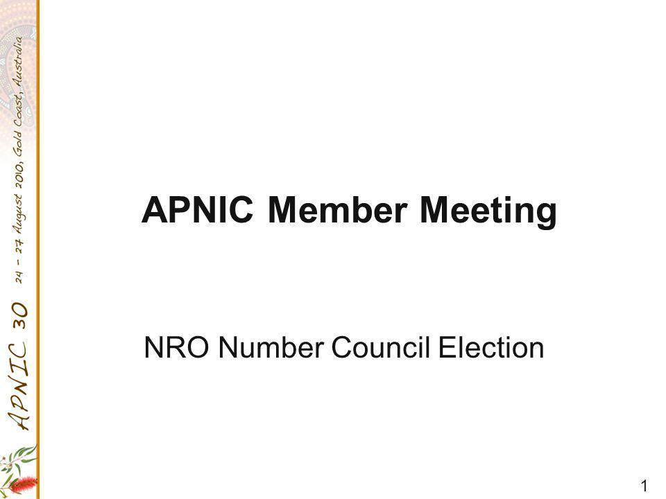 1 APNIC Member Meeting NRO Number Council Election