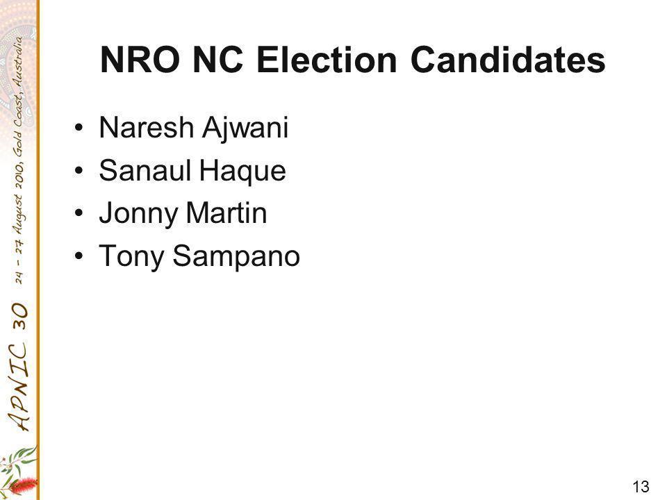 13 NRO NC Election Candidates Naresh Ajwani Sanaul Haque Jonny Martin Tony Sampano
