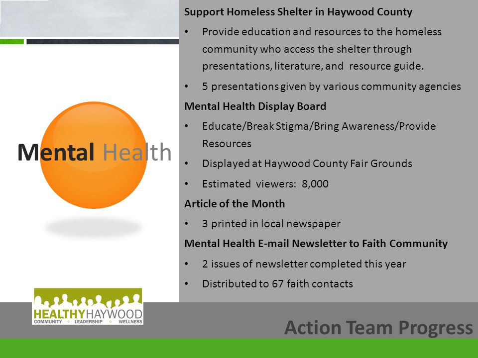 Mental Health Action Team Progress Support Homeless Shelter in Haywood County Provide education and resources to the homeless community who access the shelter through presentations, literature, and resource guide.